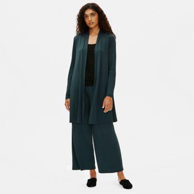 Stretch Silk Jersey High Collar Jacket