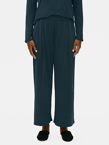 Stretch Silk Jersey Pleated Wide-Leg Pant