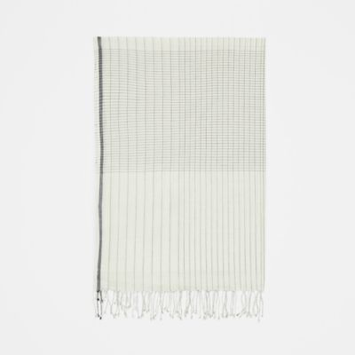 Handloomed Organic Cotton Grid Scarf