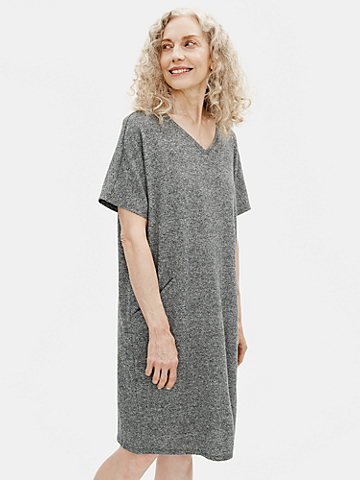 Organic Cotton Hemp Melange V-Neck Dress