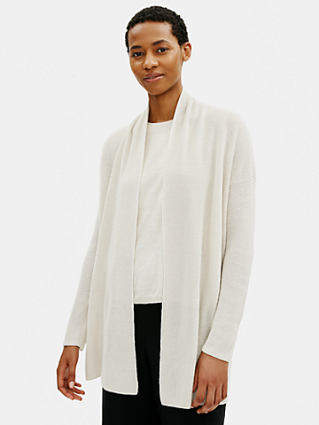 Organic Linen Cotton High Collar Cardigan