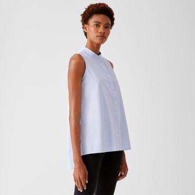 Organic Cotton Lawn Mandarin Collar Long Shirt
