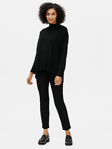 Merino Mock Neck Top in Regenerative Wool