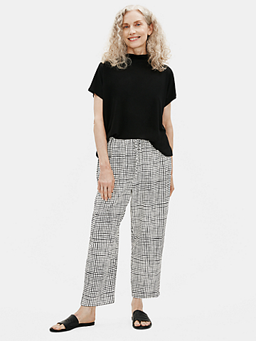 Textured Crepe Grid Slouchy Cropped Pant