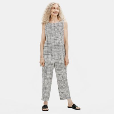 Textured Crepe Grid Long Shell