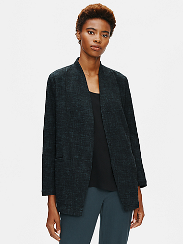 Tweedy Cotton Slub Long Jacket