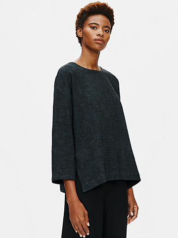 Tweedy Cotton Slub Round Neck Box-Top