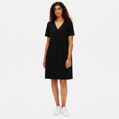 Traceable Organic Cotton Stretch V-Neck Dress