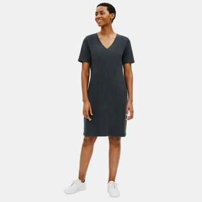 Cotton Stretch Jersey V-Neck Dress