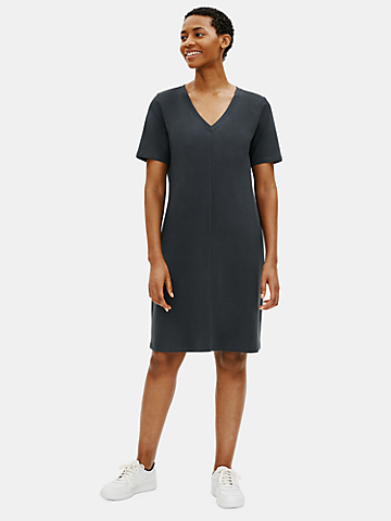Cotton Stretch Jersey V-Neck Dress