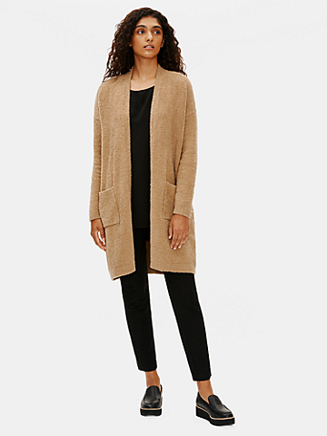 Organic Cotton Boucle Long Cardigan