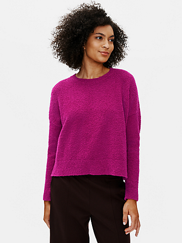 Organic Cotton Boucle Crew Neck Box-Top