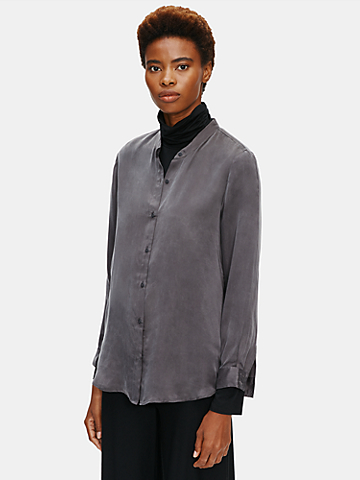 Sandwashed Cupro Mandarin Collar Shirt