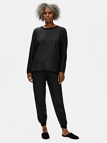 Stretch Crepe with Silk Crew Neck Top