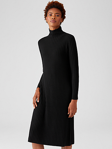 Merino Scrunch Neck Dress in Regenerative Wool