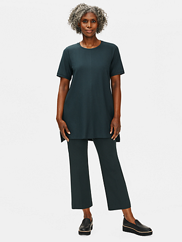 Lightweight Washable Stretch Crepe Crew Neck Tunic