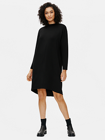 Stretch Terry Mock Neck Dress