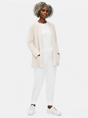 Organic Cotton Linen Slub Hooded Cardigan