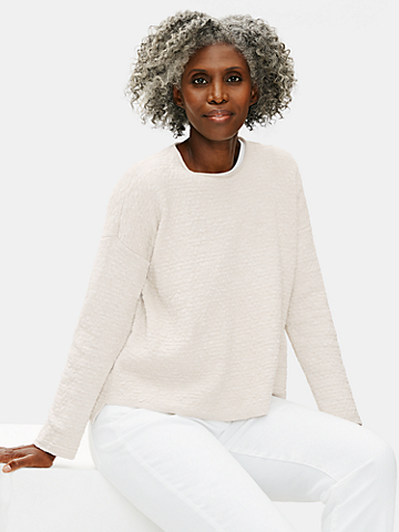 Organic Cotton Linen Slub Crew Neck Box-Top