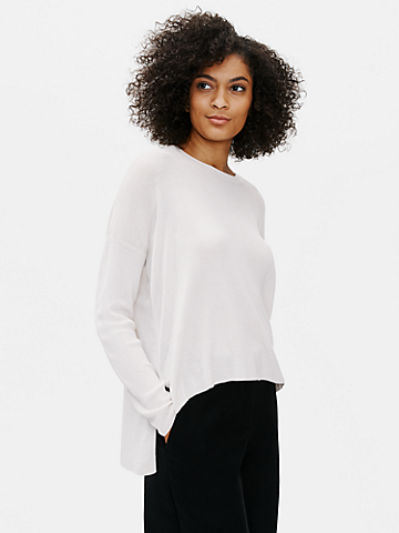 Stretch Crepe Crew Neck Box-Top
