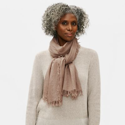 Washed Wool Silk Cashmere Scarf