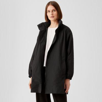 Light Cotton Nylon Stand Collar Long Coat