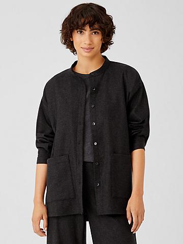 Soft Wool Flannel Mandarin Collar Shirt