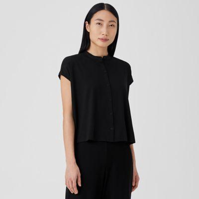 Fine Jersey Mandarin Collar Shirt