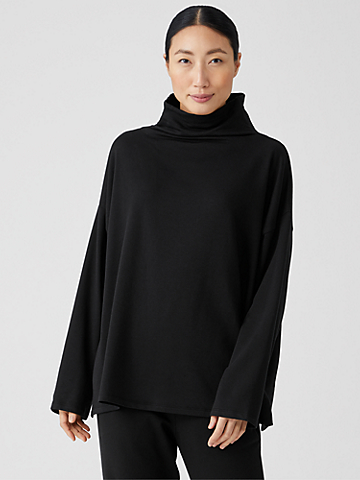 Cozy Brushed Terry Funnel Neck Box-Top