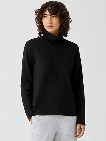 Cozy Brushed Terry Scrunch Neck Top
