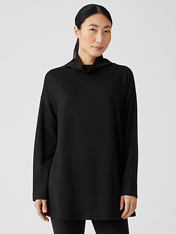 Cozy Brushed Terry Funnel Neck Top