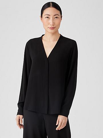 Silk Georgette Crepe V-Neck Shirt