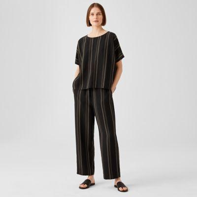 Organic Linen Blend Striped Straight Pant