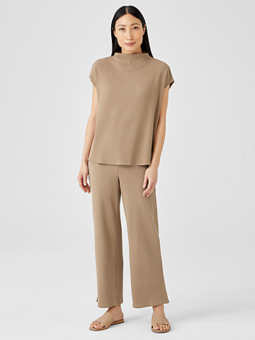 Ribbed Organic Cotton Blend Straight Pant