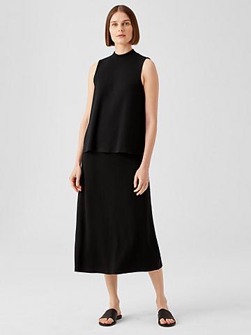 Ribbed Organic Cotton Blend A-Line Skirt