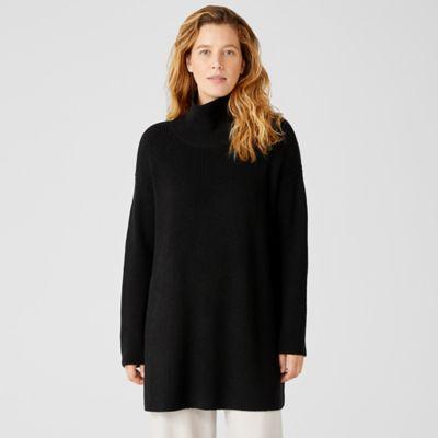 Merino Turtleneck Long Top in Responsible Wool