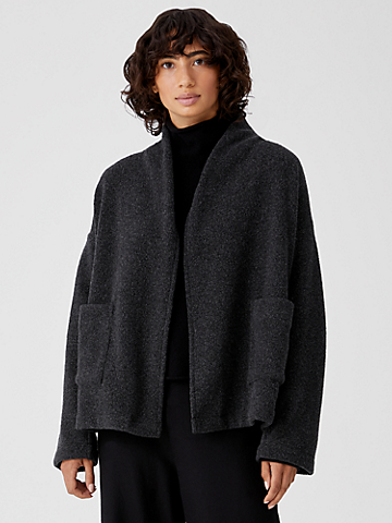 Boucle Wool Knit High Collar Jacket