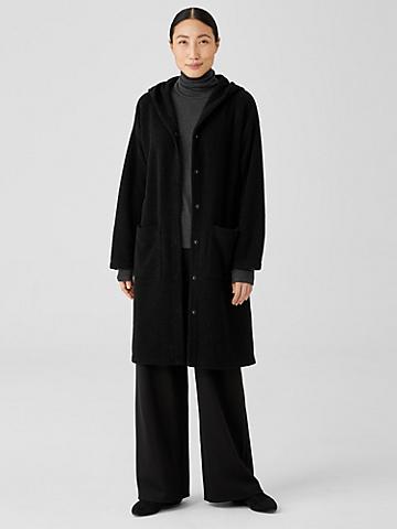 Boucle Wool Knit Hooded Jacket