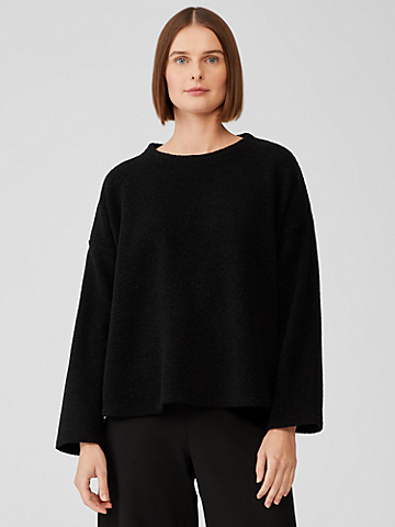 Boucle Wool Knit Crew Neck Box-Top