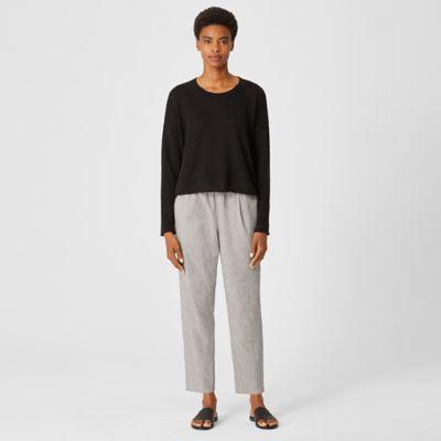 Organic Cotton Linen Ticking Stripe Pleated Pant