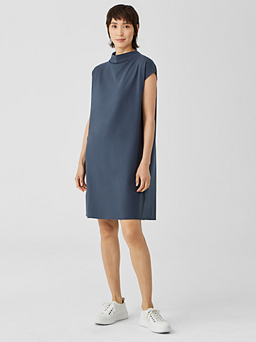 Traceable Organic Cotton Jersey Funnel Neck Dress