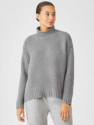 Recycled Cashmere Wool Funnel Neck Top