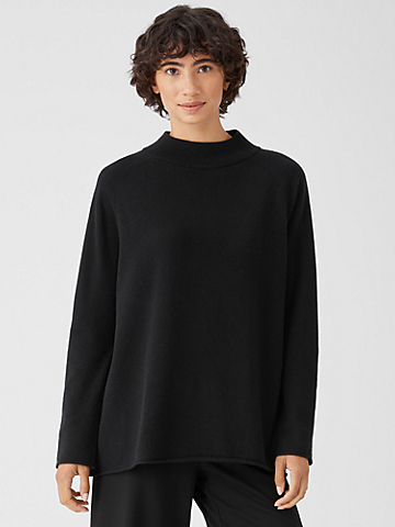 Recycled Cashmere Wool Mock Neck Box-Top