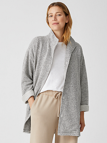 Organic Cotton Terry Stand Collar Jacket