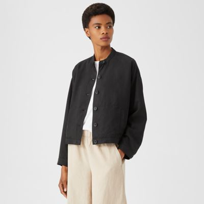 Linen Blend Stand Collar Jacket