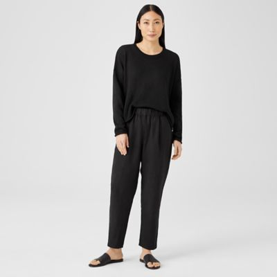 Linen Blend Pleated Tapered Pant