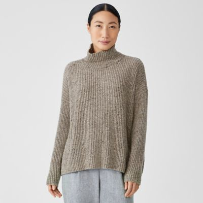 Recycled Cashmere Tweed Turtleneck Box-Top