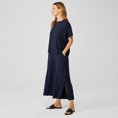 Viscose Jersey Wide-Leg Pant with Slits