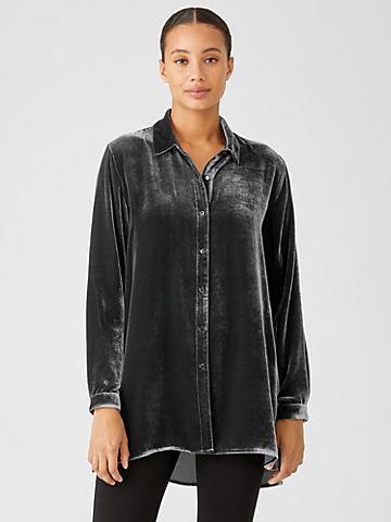 Velvet Classic Collar Long Shirt