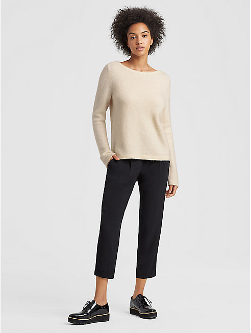 Cashmere Silk Bateau Neck Top